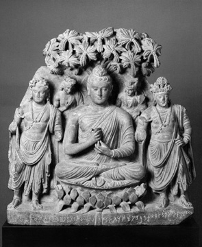 "Fig. 24. Buddha triad. Dated ""year 5."" Provenance unknown. H. 62 cm. Agonshū, Japan. From Kurita, Gandharan Art, vol. 1, P3-VIII."