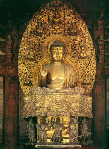 Seated Yakushi. 1603. Gilt wood.