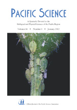 Pacific Science 66, no. 1, cover