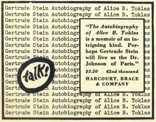 A 1934 advertisement for The Autobiography of Alice B. Toklas
