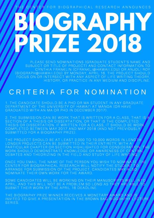 Biography Prize 2018 Announcement